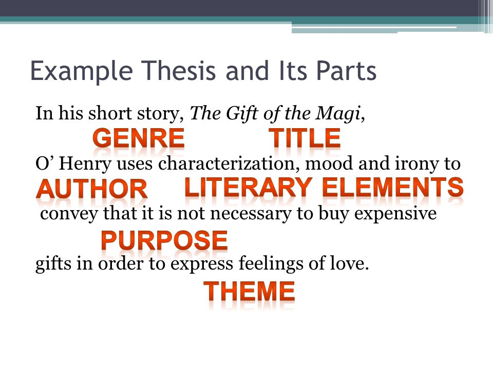 The Literary Analysis Essay Using The Gift Of The Magi By Ohenry As   Example  Learning English Essay also Thesis Argumentative Essay  College Essay Paper