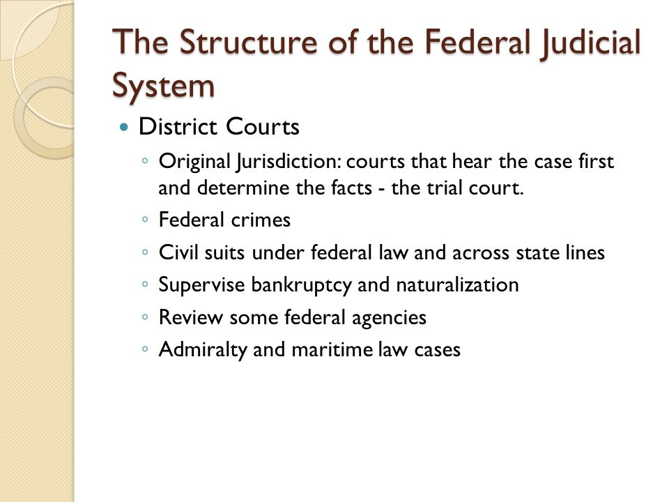 The Structure of the Federal Judicial System District Courts ◦ Original Jurisdiction: courts that hear the case first and determine the facts - the trial court.