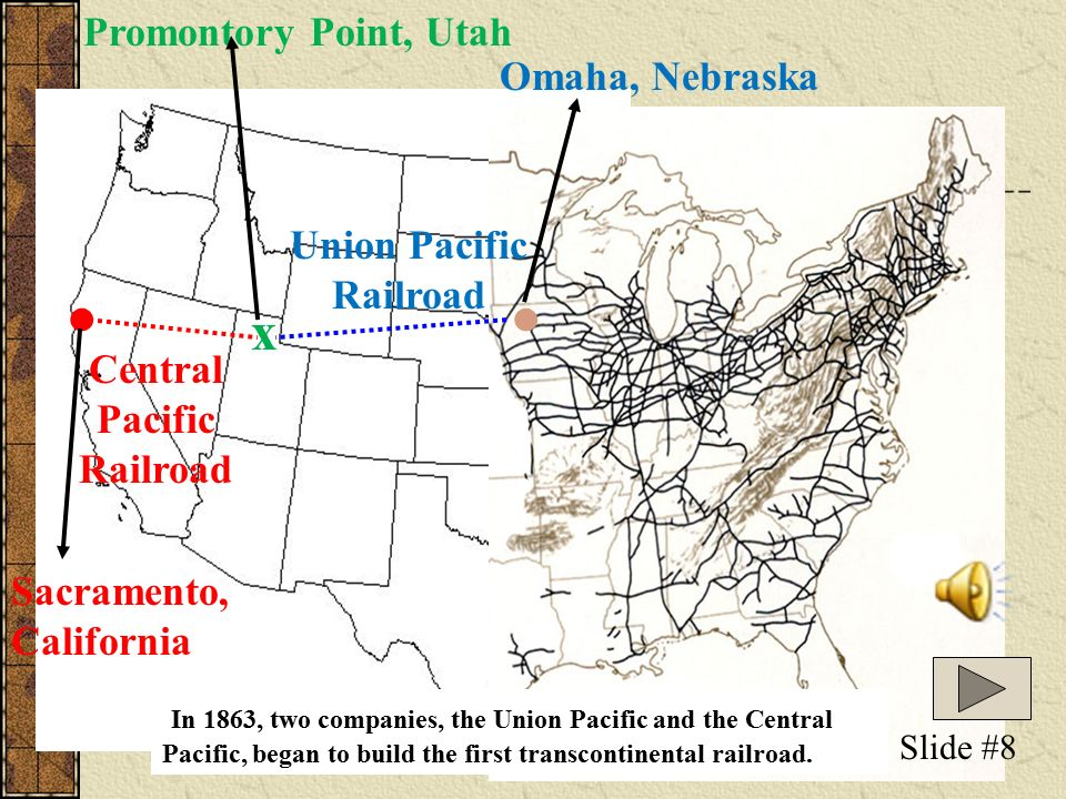 The Transcontinental Railroad Slide 1 The Transcontinental Railroad - Us-transcontinental-railroad-map