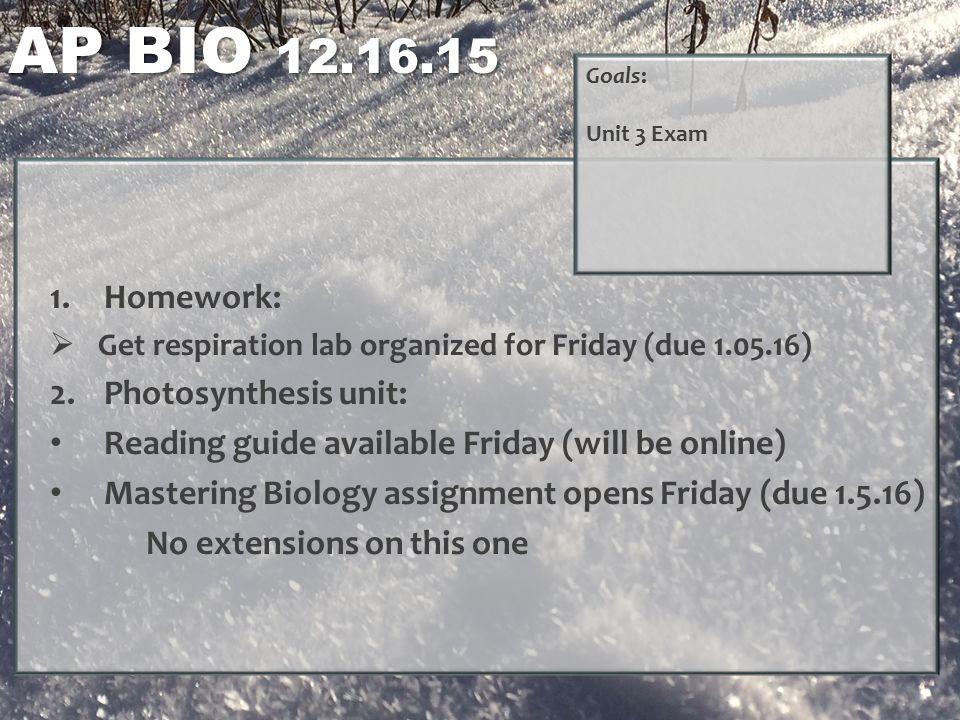 ap biology homework