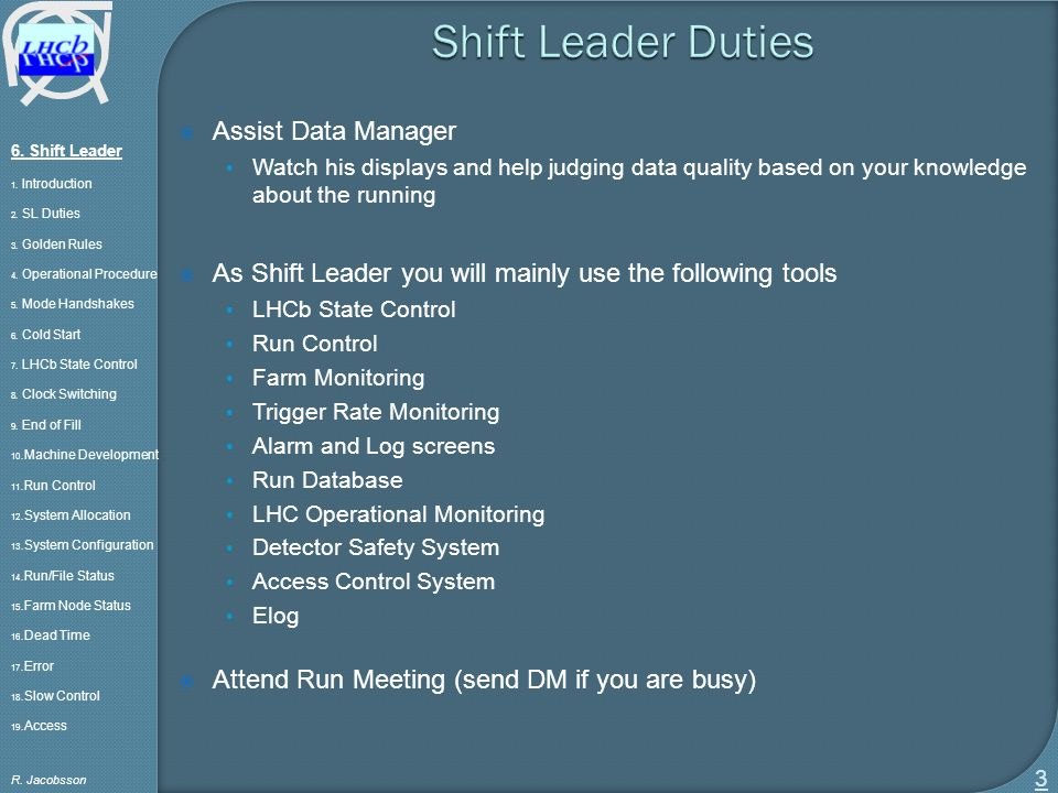 shift leader 1 introduction 2 sl duties 3