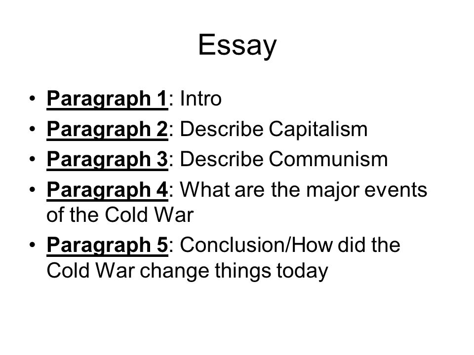 Essay On Health Care  Essay Paragraph  Intro Paragraph  Describe Capitalism Paragraph   Describe Communism Paragraph  What Are The Major Events Of The Cold War  Paragraph  English Language Essay also Research Essay Topics For High School Students The Cold War Essay Paragraph  Intro Paragraph  Describe  Research Paper Essay Examples