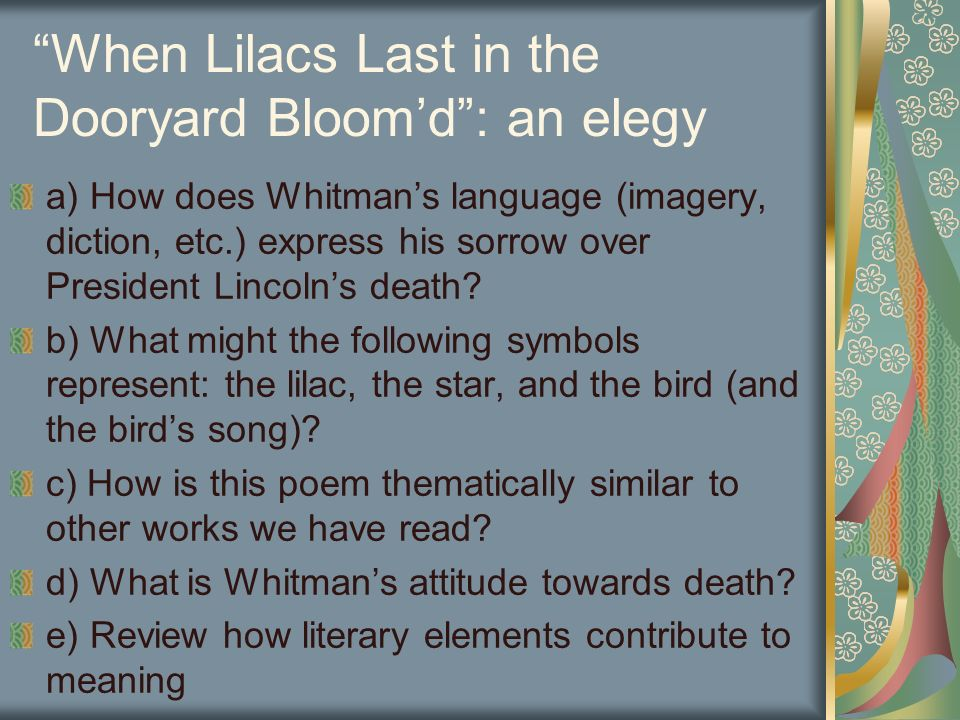 when lilacs last in the dooryard bloom d symbols