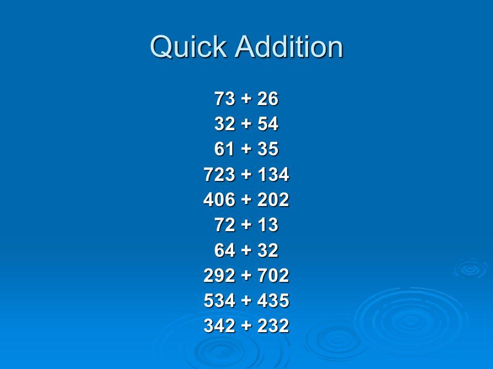 Mental Math Mental Computation Grade 4. Quick Addition  This ...