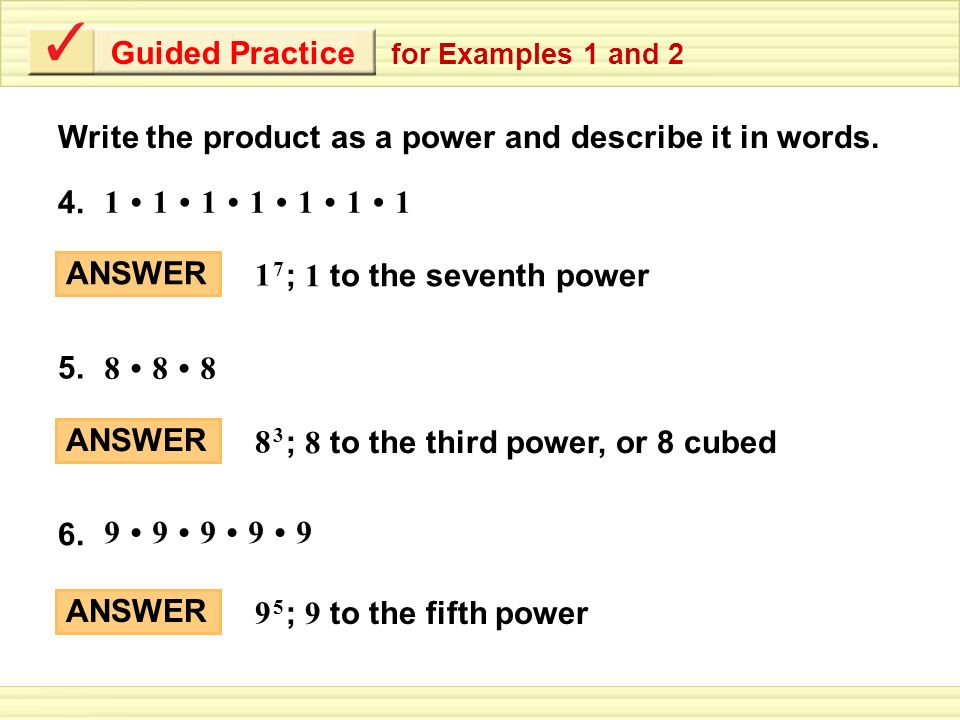 Example 1 Writing Powers Write The Product As A Power And Describe