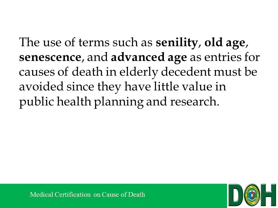 Medical Certification On Cause Of Death Session Iv B Guidelines