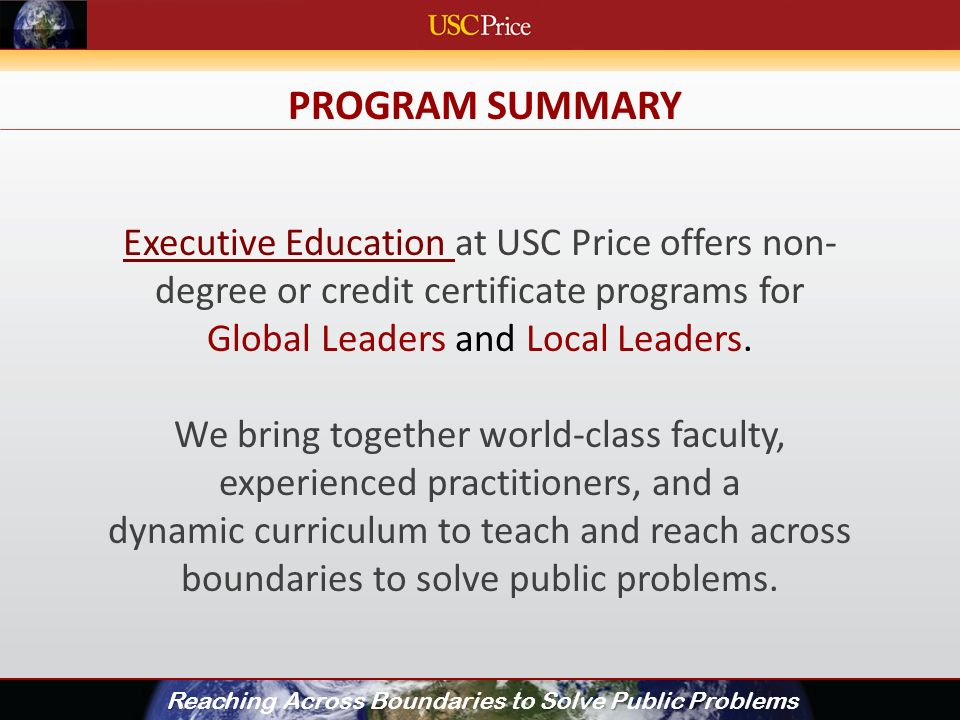 EXECUTIVE EDUCATION: EXED INTRODUCTION RABSPP Reaching Across ...