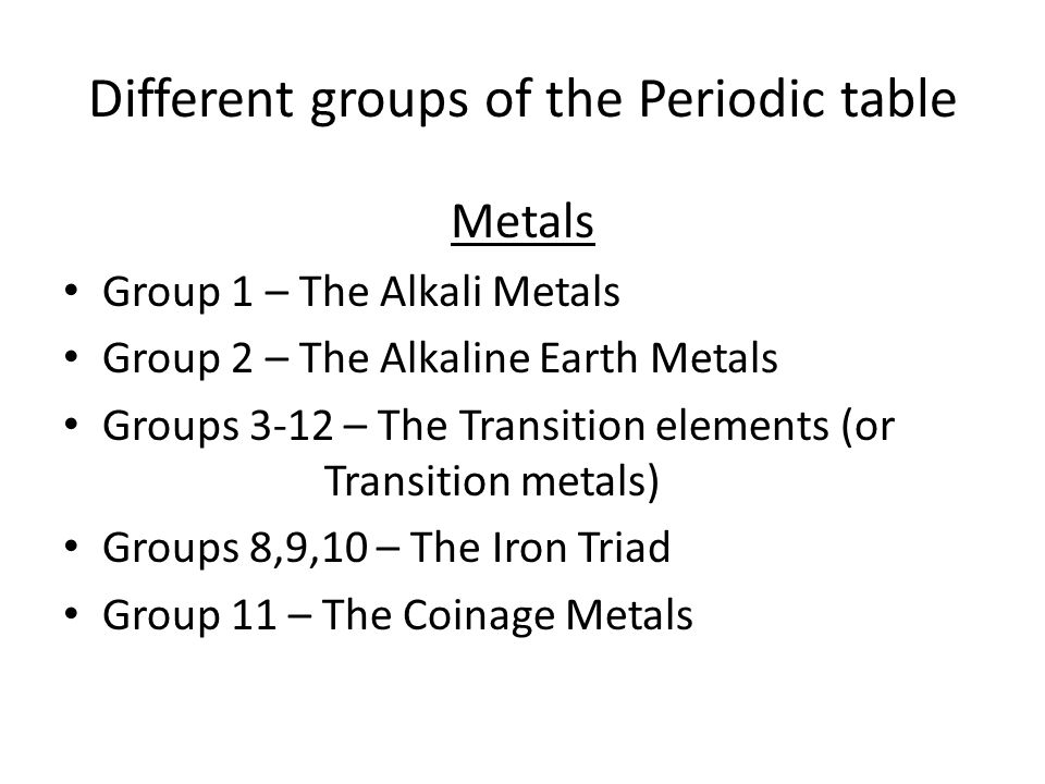 Periodic table of elements the periodic table vertical columns are 5 different groups of the periodic table metals group 1 the alkali metals group 2 the alkaline earth metals groups 3 12 the transition elements or urtaz Image collections