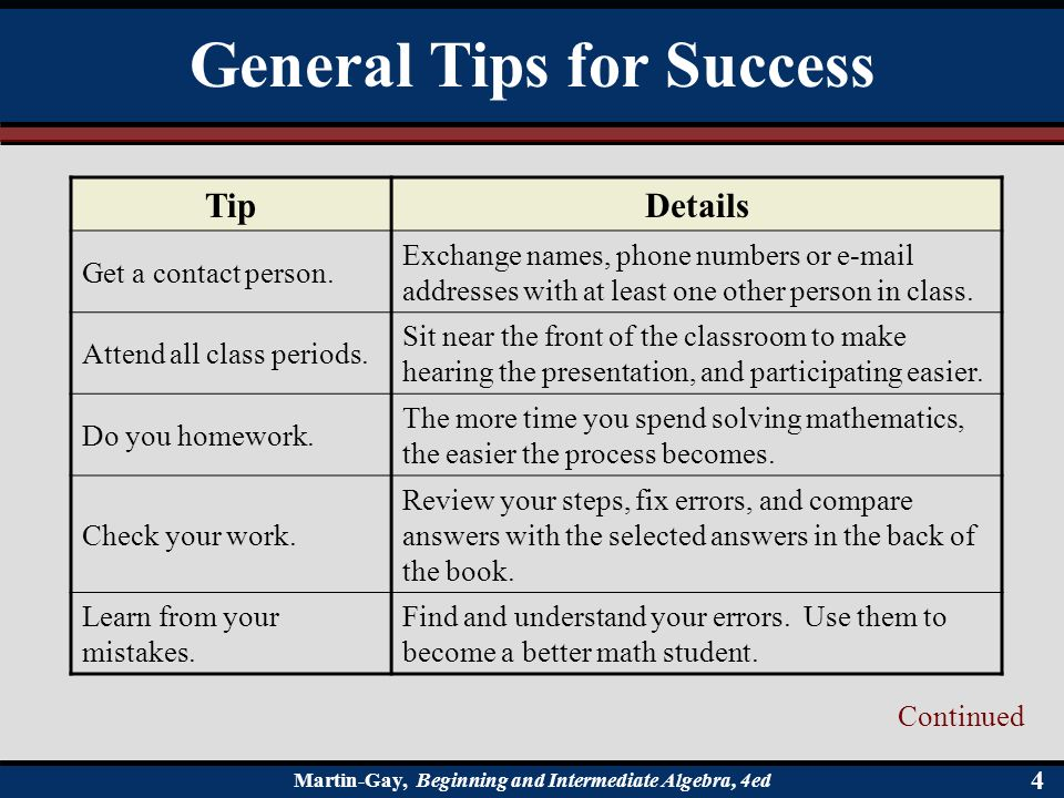 Chapter 1 Review of Real Numbers  § 1 1 Tips for Success in