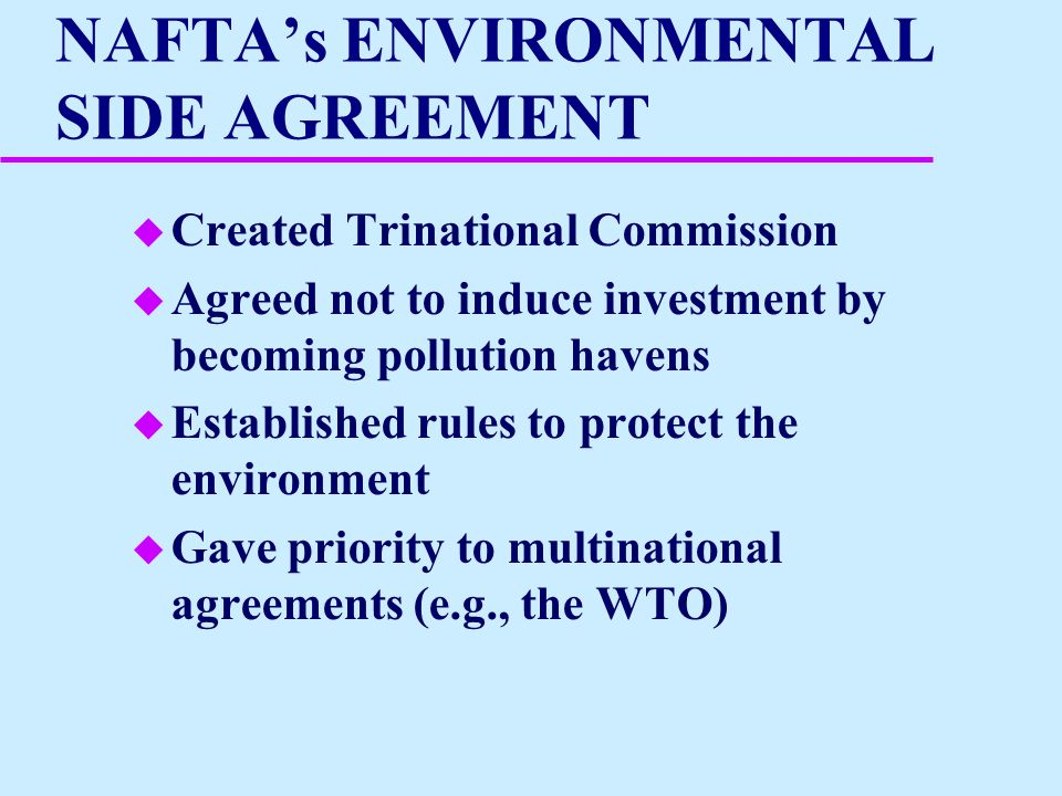 Environmental Considerations In The Ftaa And Other Trade