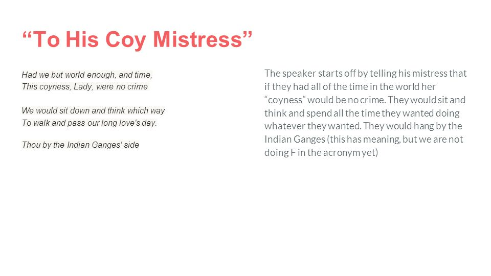 to his coy mistress analysis