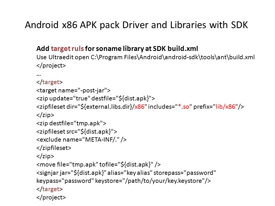 Android x86 APK pack Driver and Libraries with SDK Add target ruls
