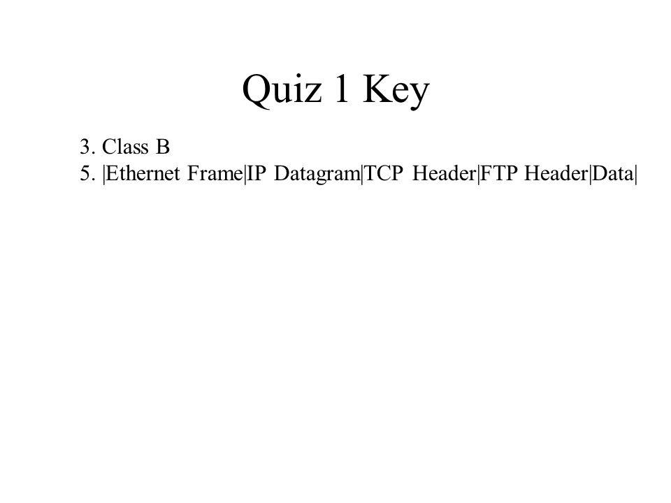 Quiz 1 Key 3. Class B 5. |Ethernet Frame|IP Datagram|TCP Header|FTP ...