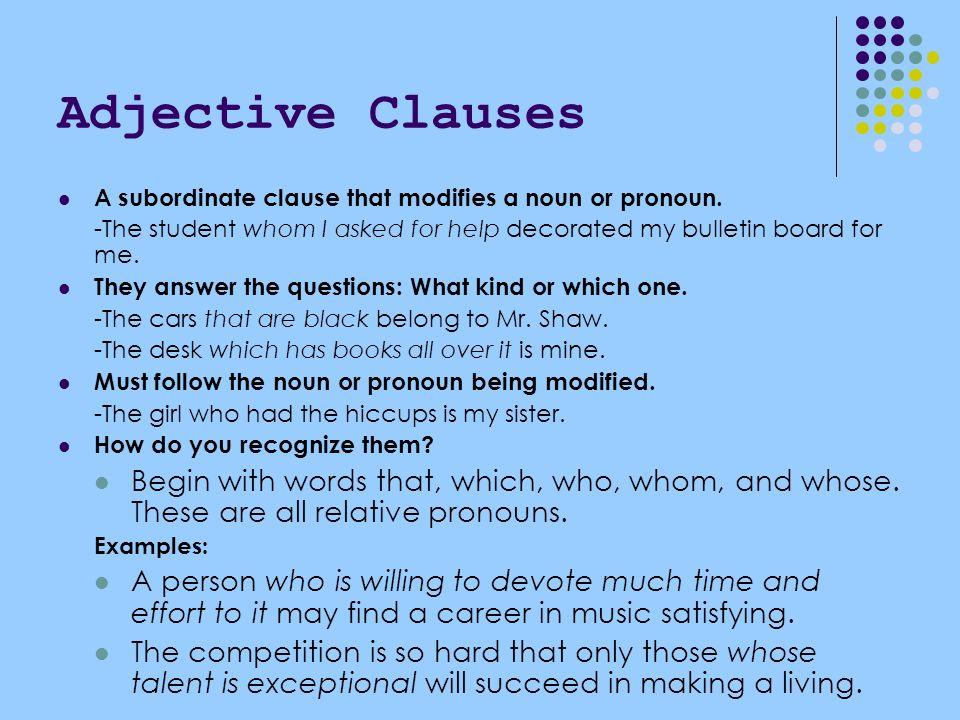 adjective subordinate clause