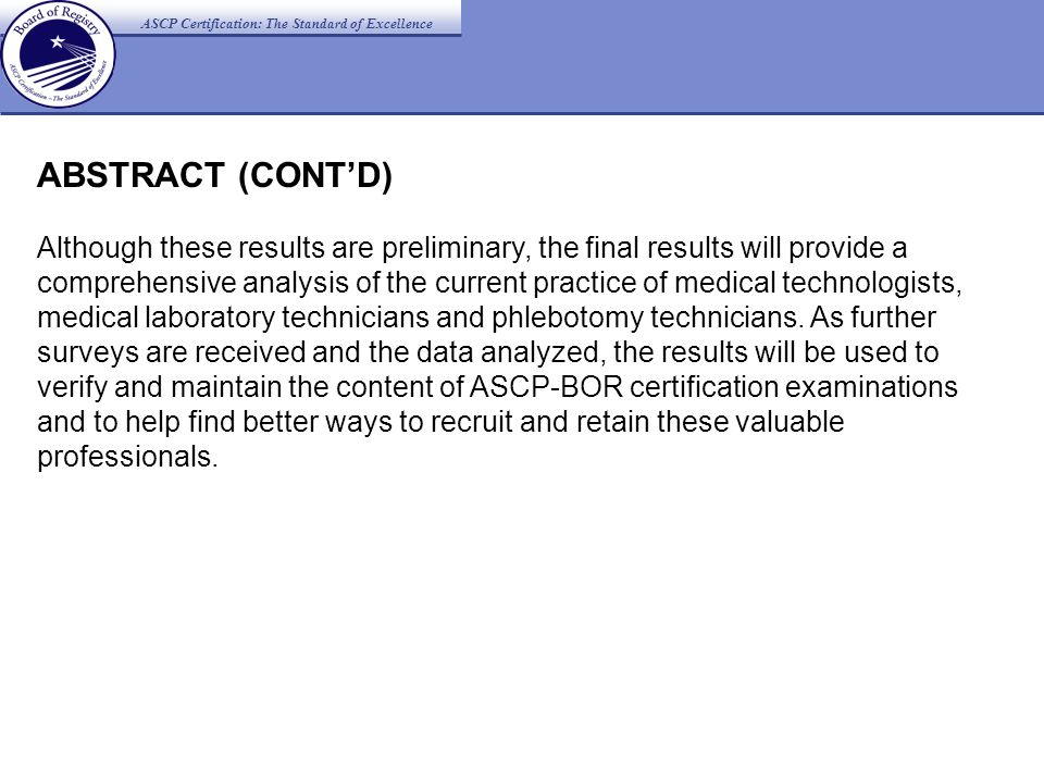 ASCP Certification: The Standard of Excellence Practice Analysis for ...