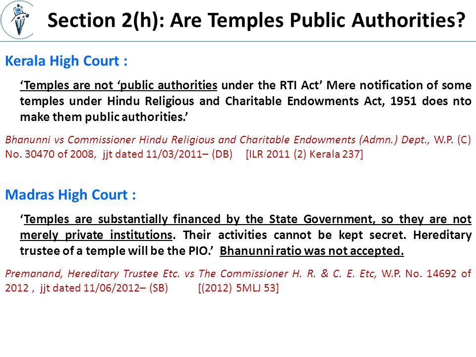 Section 2(h): Are Temples Public Authorities.
