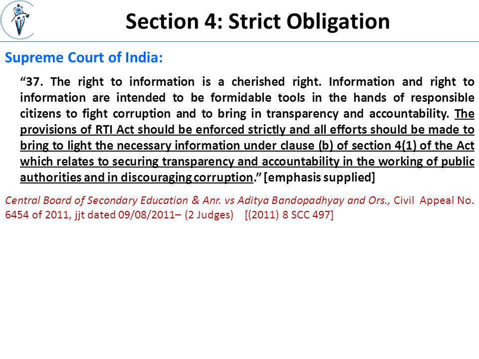 Section 4: Strict Obligation Supreme Court of India: 37.