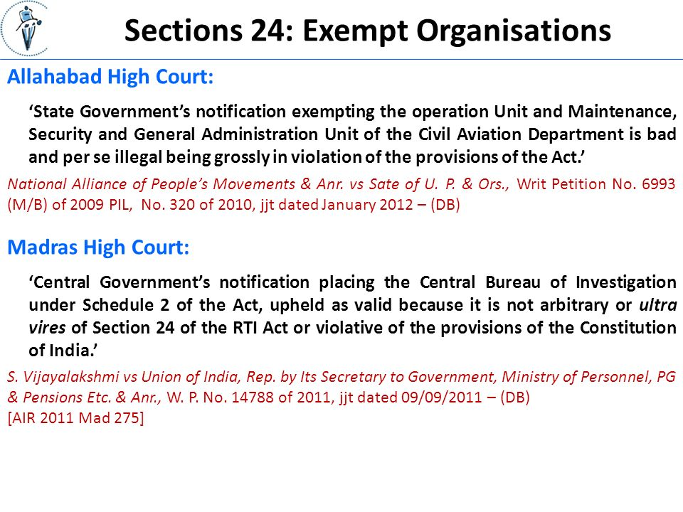 Sections 24: Exempt Organisations National Alliance of People's Movements & Anr.