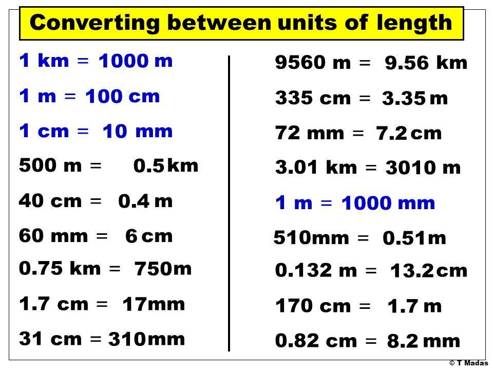T Madas. 1 m = cm cm = mm 10 1 km = m m = cm cm = mm 40 3 km = m m ...