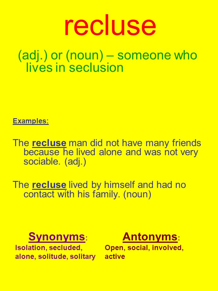 Recluse (adj.) or (noun) – someone who lives in seclusion ...