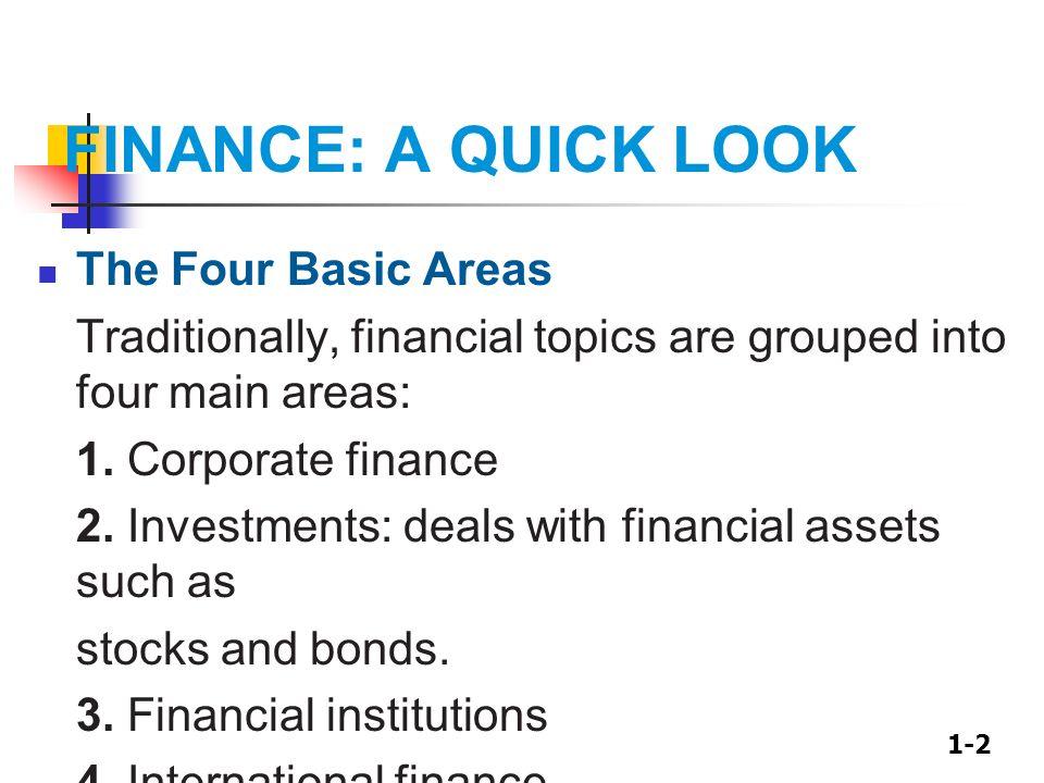 main areas of finance