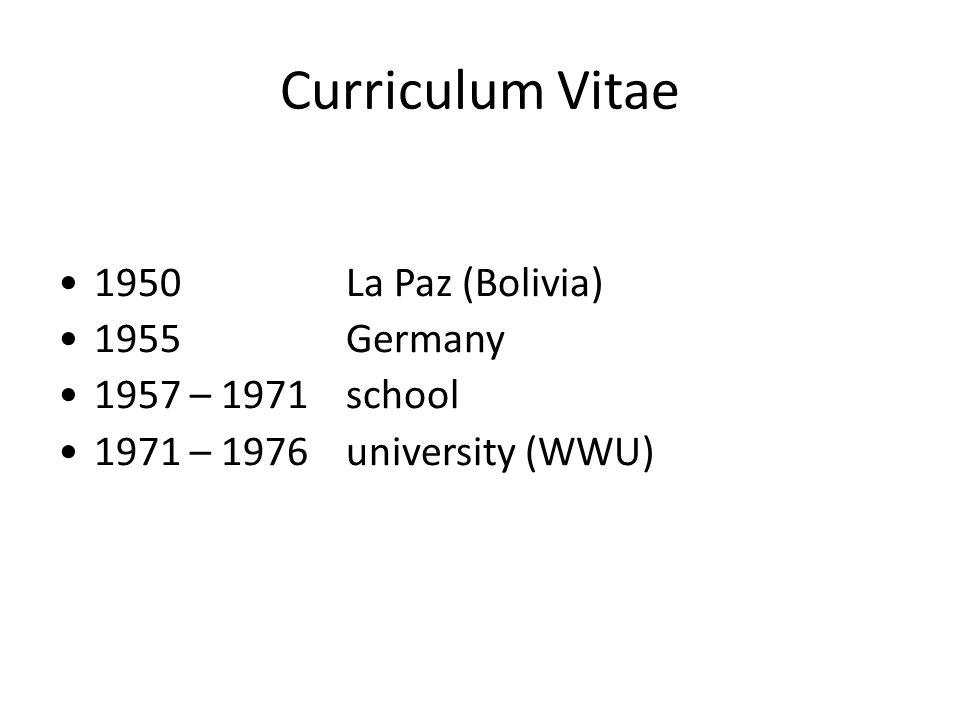 Hermann Rogowski Curriculum Vitae 1950 La Paz Bolivia 1955