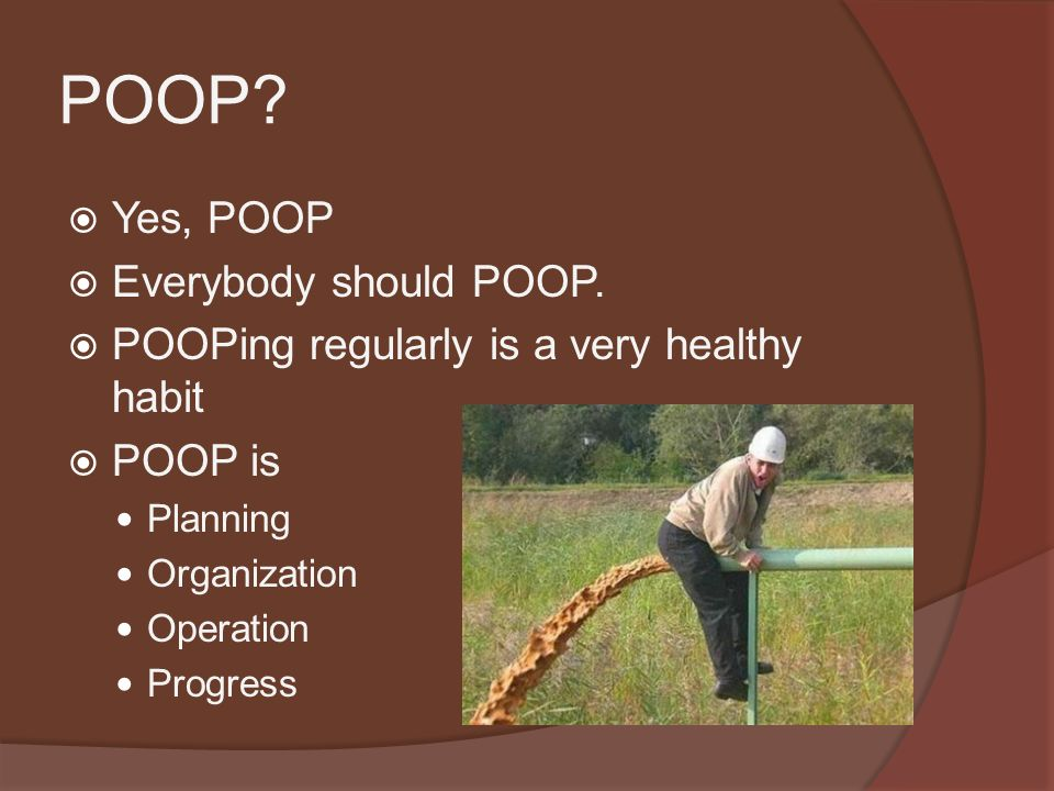 POOP.  Yes, POOP  Everybody should POOP.