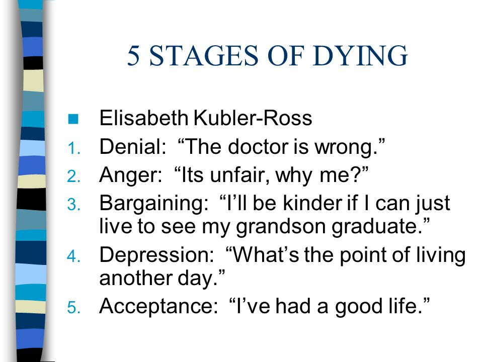 the stages of death in elizabeth kubler ross on death and dying Psychiatrist elisabeth kübler-ross wrote the book on death and dying, which outlined the five stages that terminally ill patients experience born in 1926, elisabeth kübler-ross wanted to be a.