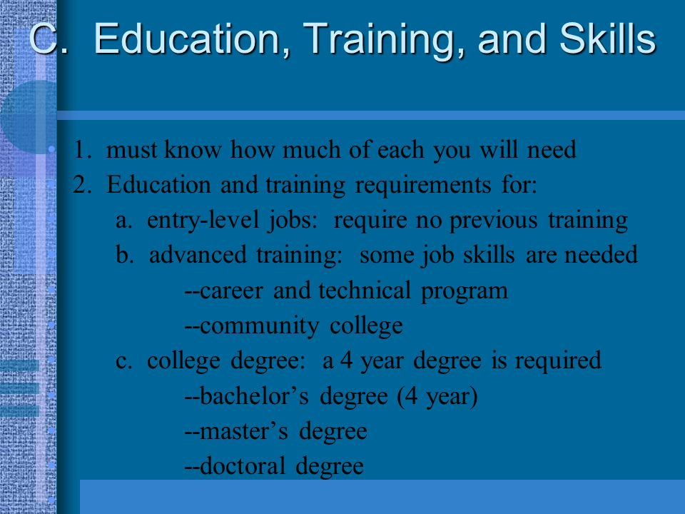 c education training and skills 1 must know how much of each