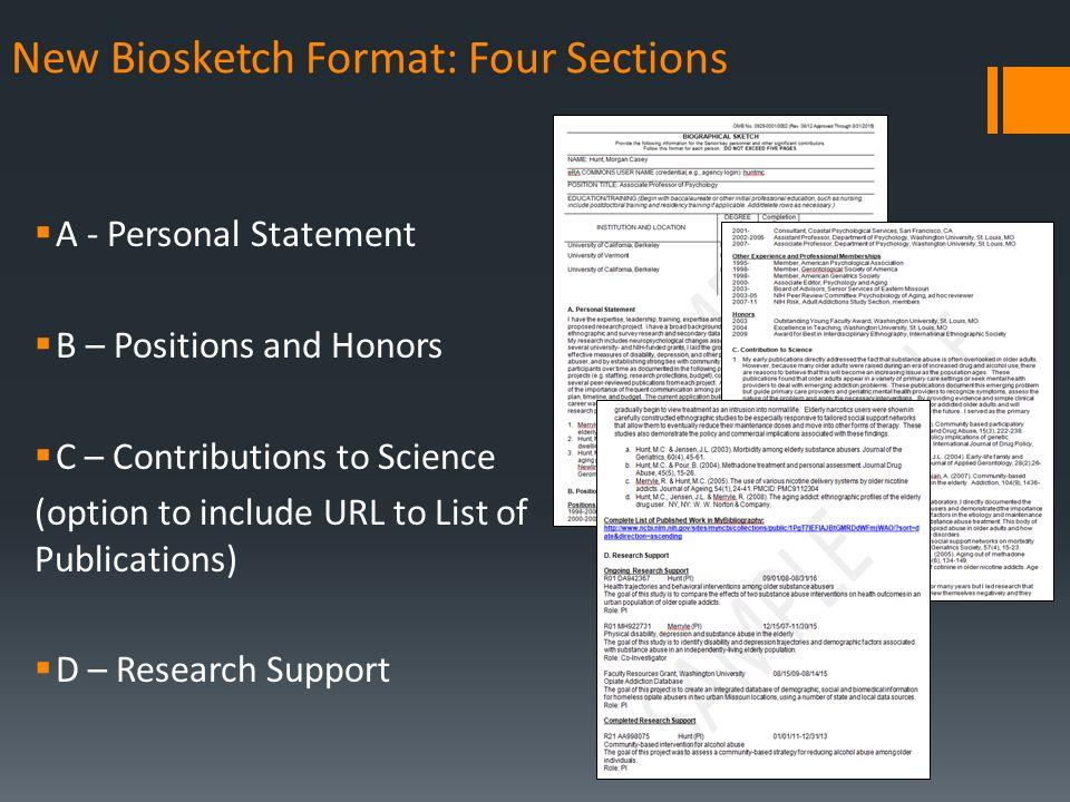 November 2015 The New Nih Biosketch Outline Formatstemplates