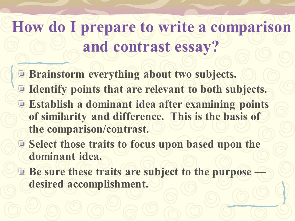 how to compare and contrast in an essay How to start compare and contrast essay once a teacher gives students the two subject to be compared and contrasted, the students first go out and seek information about both topics the first step is to identify the differences and similarities in the information then a way to sort out and.