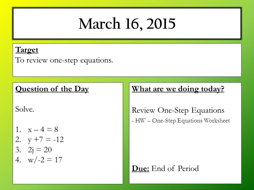M 16 2015 What Are We Doing Today Review Onestep Equations. Worksheet. 1 Step Equations Worksheet At Clickcart.co