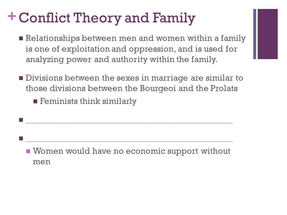 conflict theory of gay or lesbian families Same sex marriage through conflict theorists eyes the two sides conflict theory consequences in society benefits to society 1) society is a system of social inequalities based on class, gender, and race.