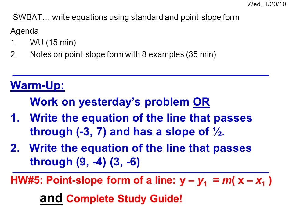 Quiz Complete On A Sheet Of Paper Write In Slope Intercept Form 1