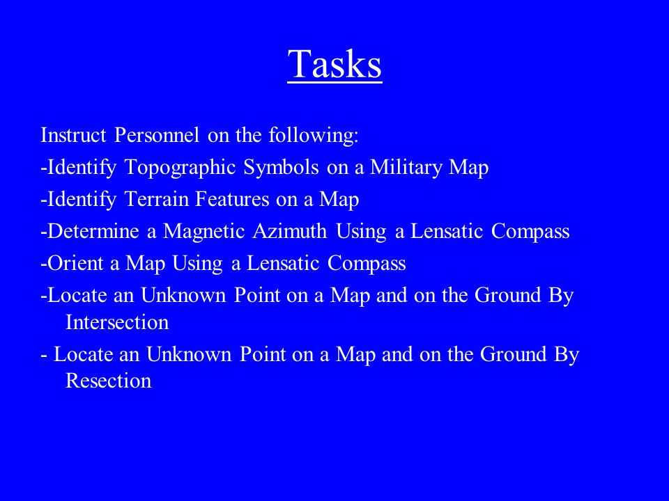 Hooah Map Training Class Instructor Tasks Instruct Personnel On
