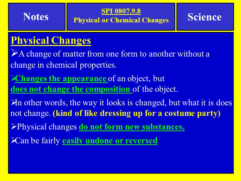 difference between physical and chemical changes with examples