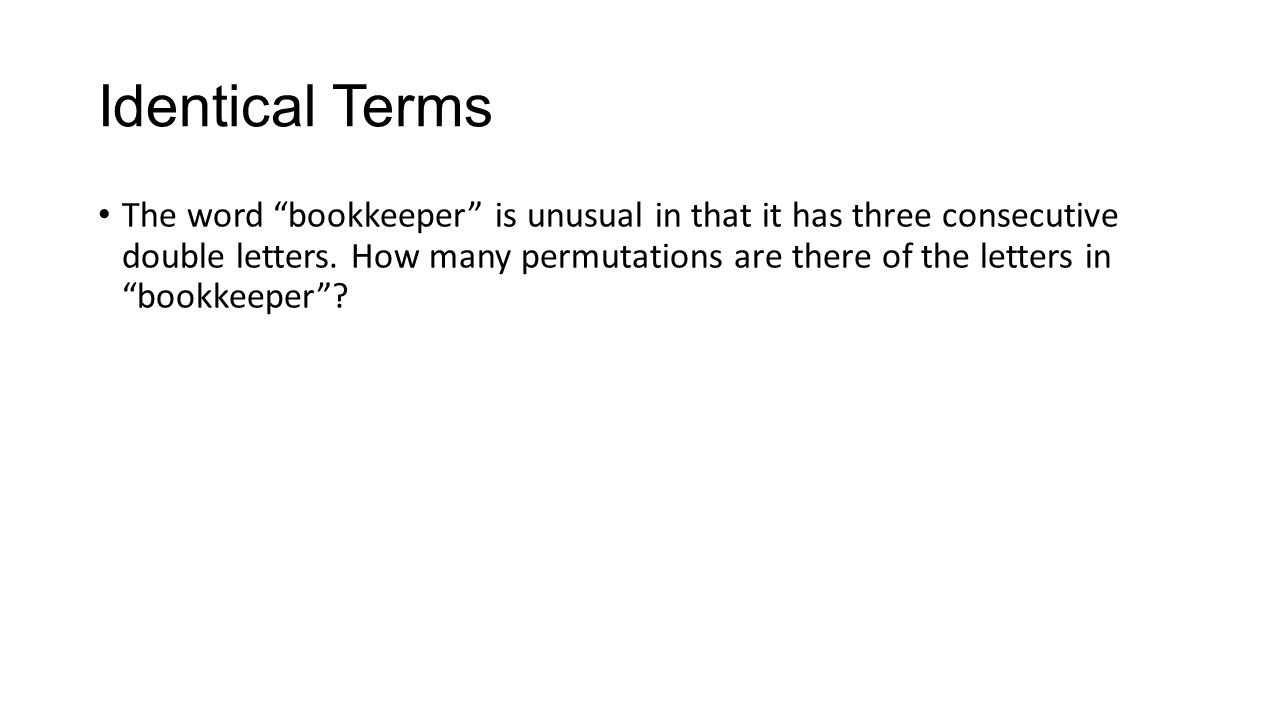 31 Permutations With Non Ordered Elements Identical Terms How Many