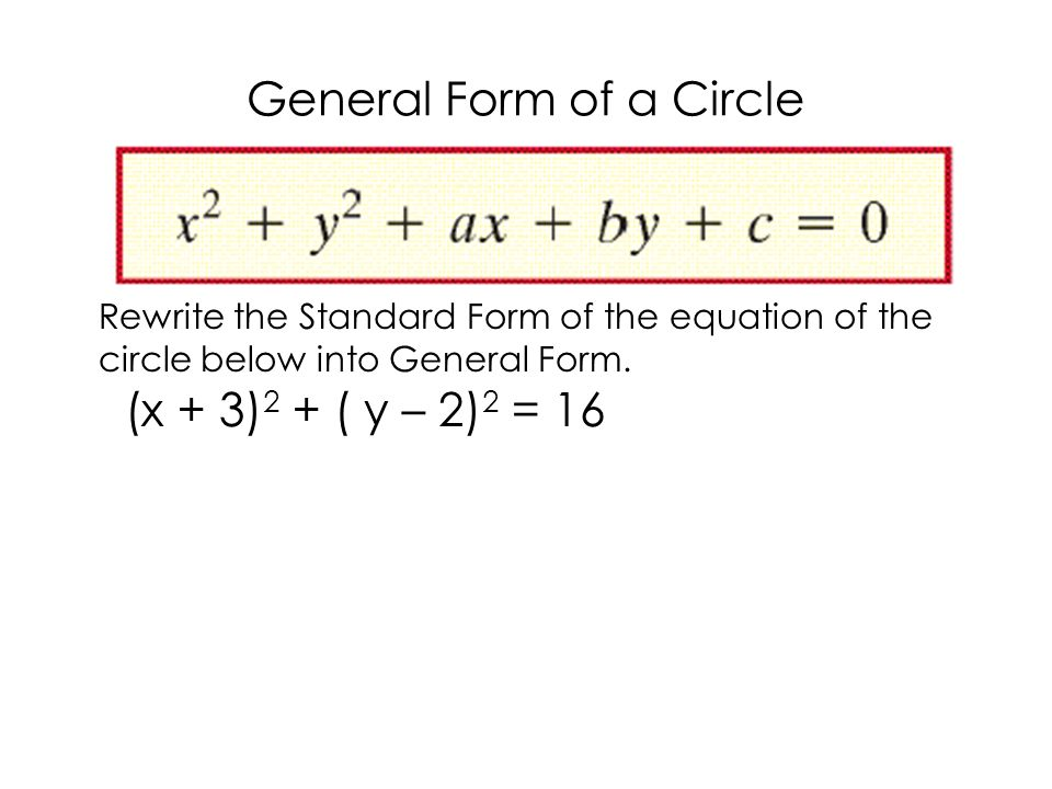 Datecircles 2page General Form Of A Circle Rewrite The Standard