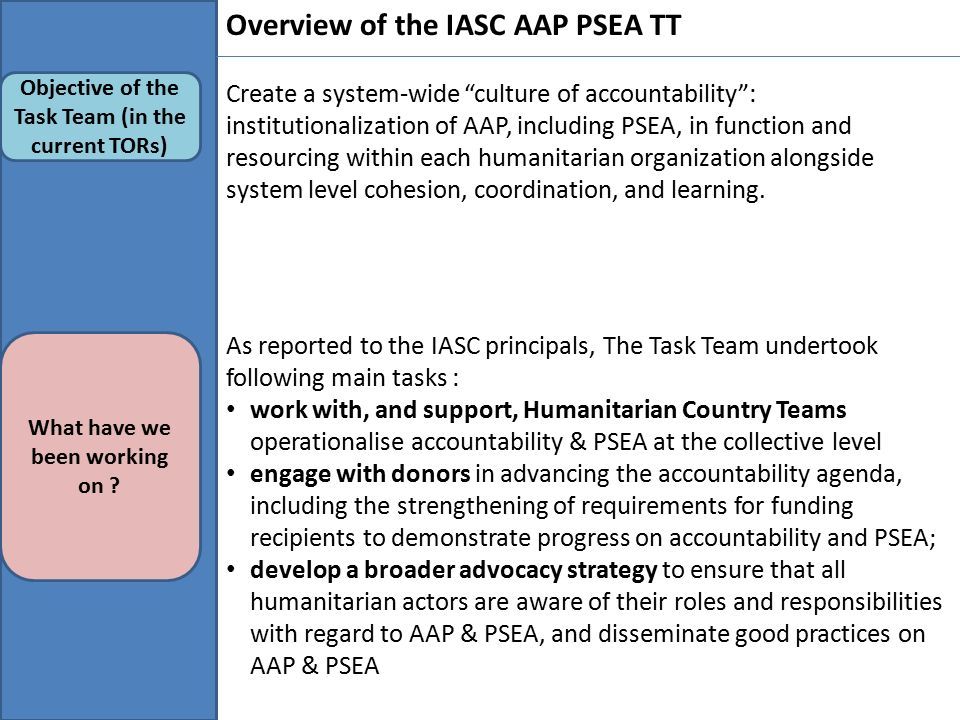 Overview of the IASC AAP PSEA TT Objective of the Task Team (in the current TORs) What have we been working on .