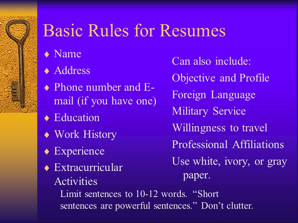 Preparing The Resume The First Step In The Employment Process Ppt