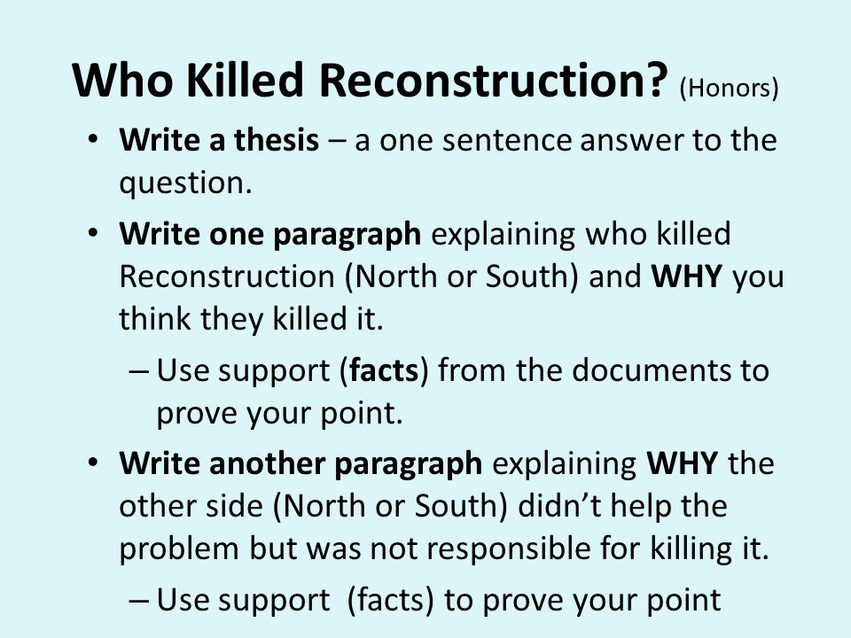Content Objective SWBAT Explain Reconstruction Why Was