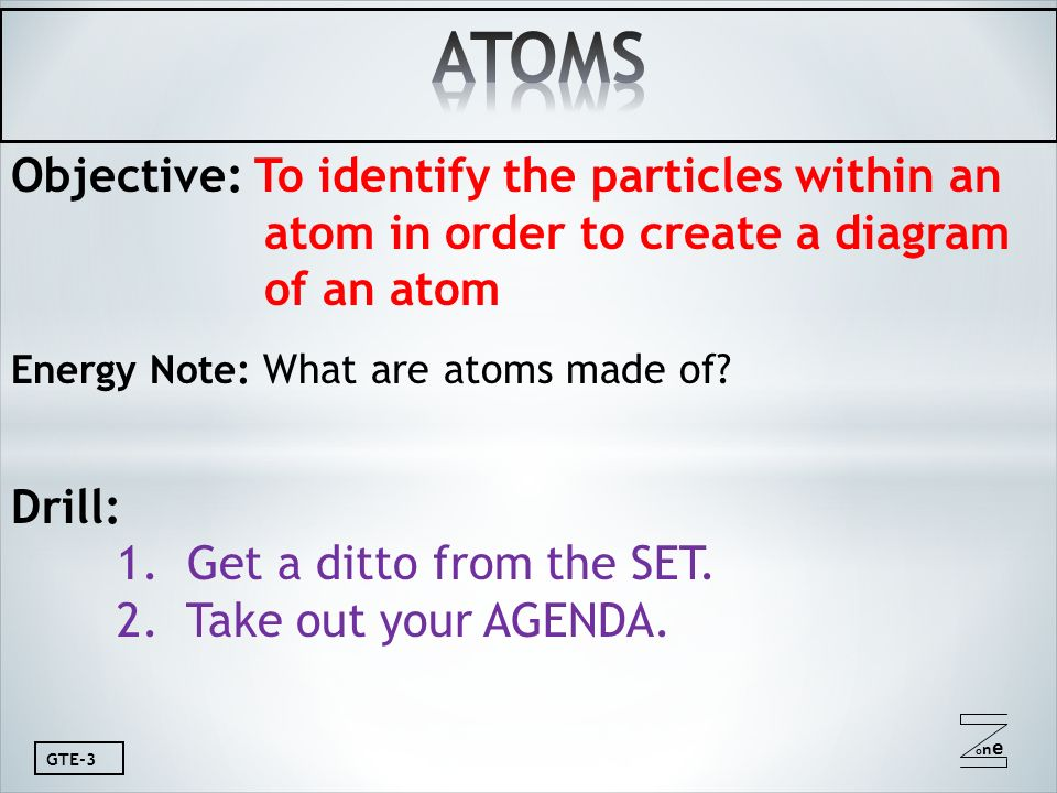 Oneone Gte 3 Objective To Identify The Particles Within An Atom In