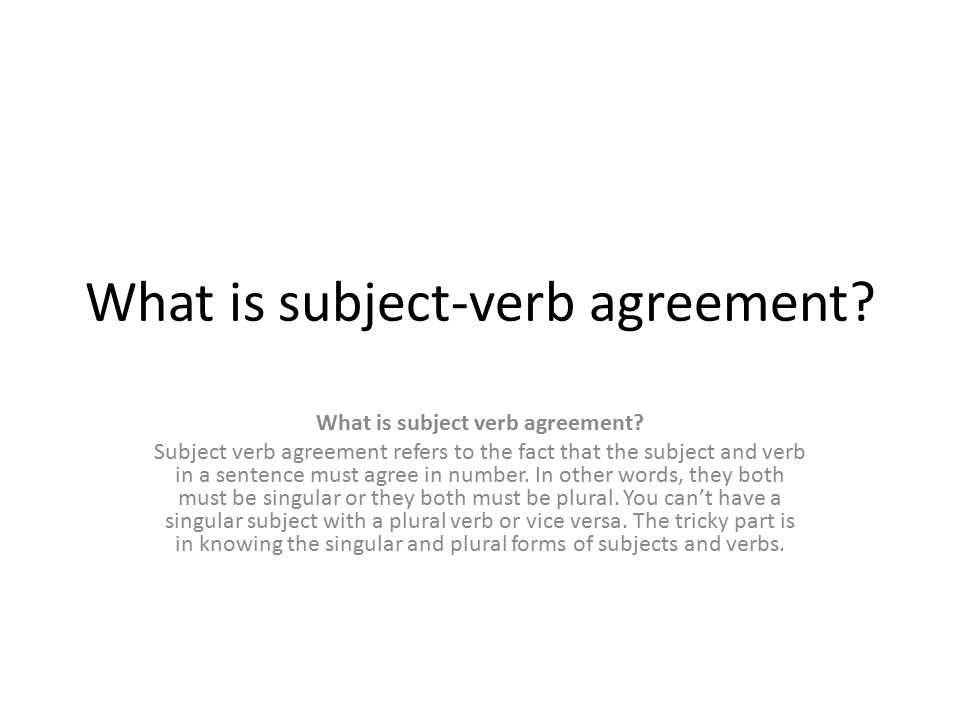 Subject Verb Agreement Warm Up 11415 1to Make Matters Worse 2