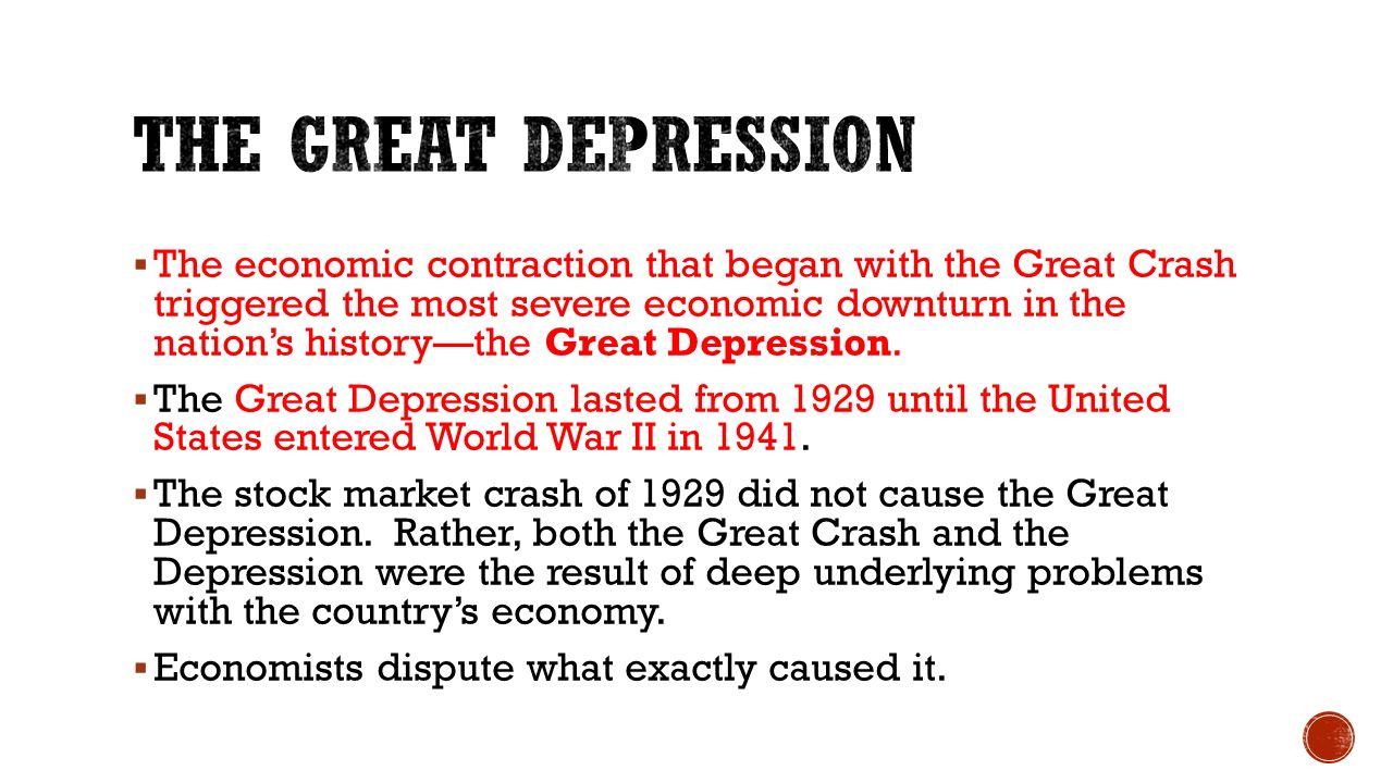 Besides the stock market crash what else caused great depression
