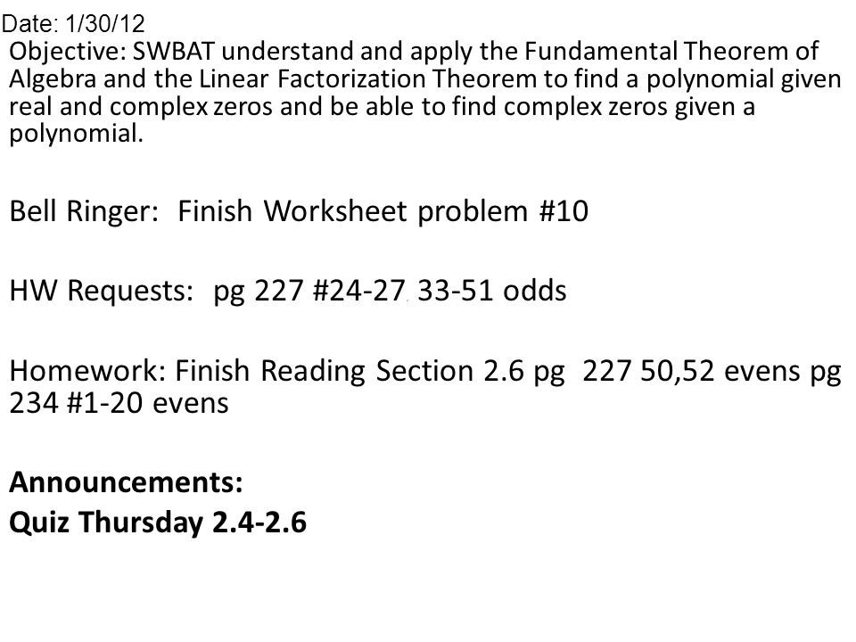 Objective Swbat Understand And Apply The Fundamental Theorem Of
