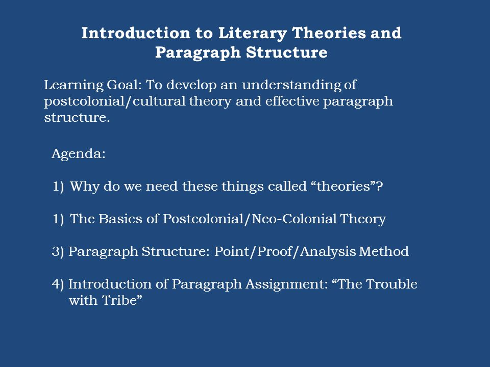 Introduction to Literary Theories and Paragraph Structure
