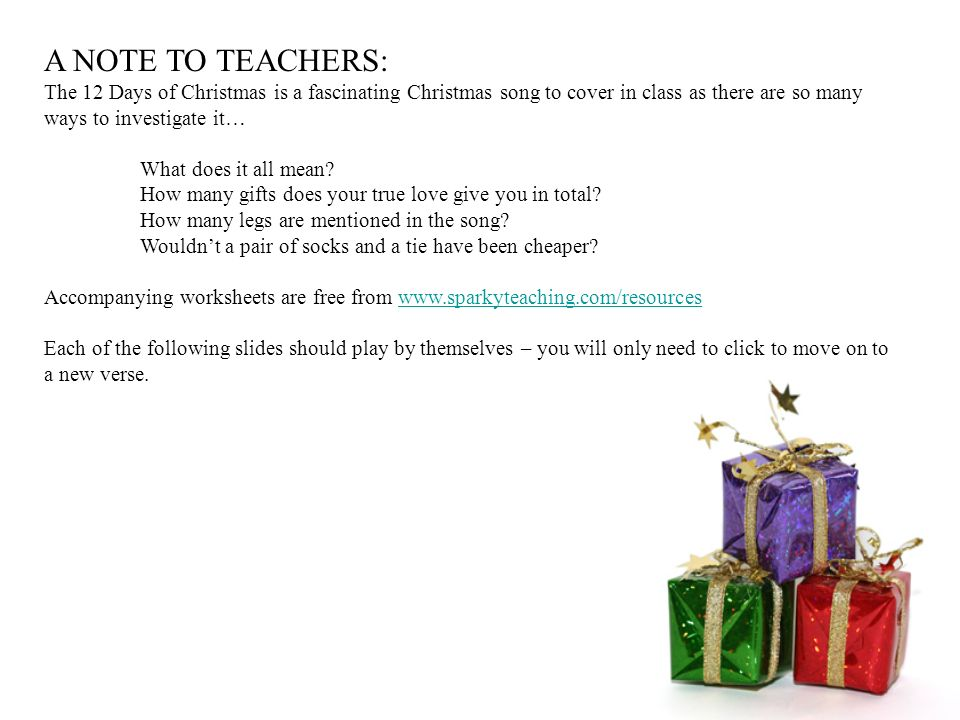 a note to teachers the 12 days of christmas is a fascinating christmas song to