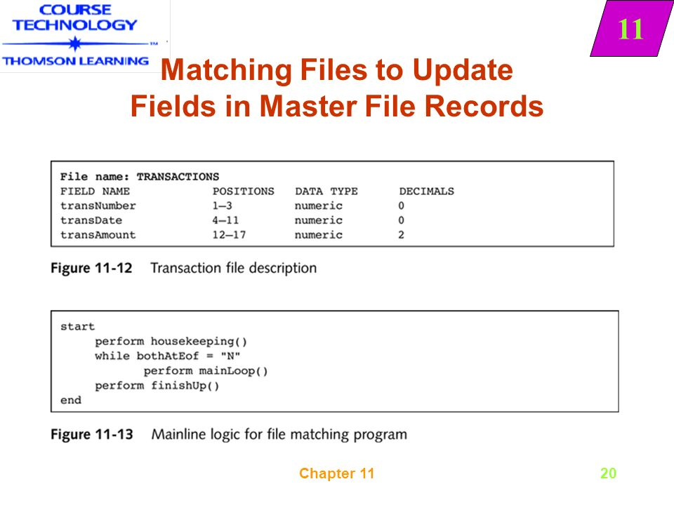 11 Chapter 111 Sequential File Merging, Matching, and Updating
