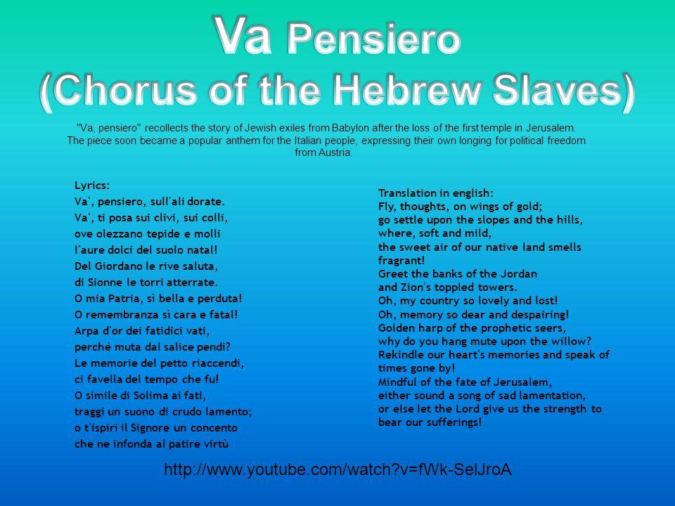 Lyric jewish song lyrics : Composer: Giuseppe Verdi RolePremiere Cast Nabucco, King of ...