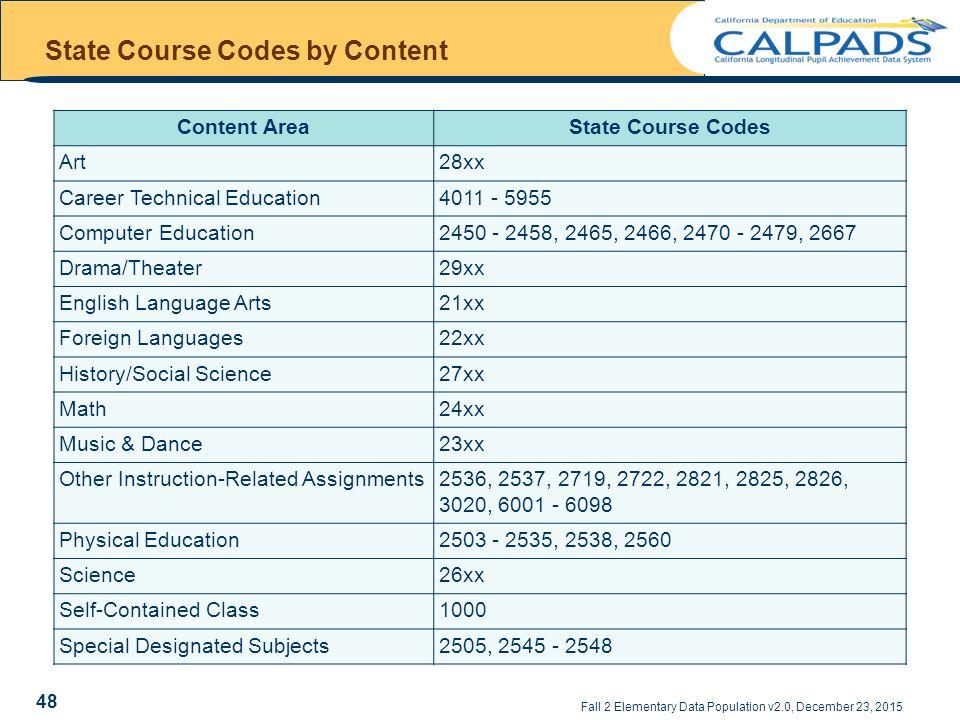 fall 2 elementary data population staff data course enrollments